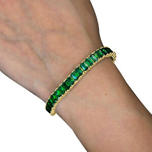 14K Yellow Gold Finish Emerald Cut 12.00Ct Green emerald Tennis Bracelet Jewelry