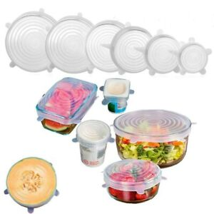 6 /12pcs Reusable Silicone Stretch Lids Kitchen food Storage Wraps Cover Various