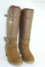 PAJAR HIGH HEEL CAMEL SUEDE LEATHER BOOTS SZ 7 FUR VERY CLEAN IN GREAT CONDITION