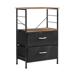 Nightstands Rustic Side Table Dresser Tower with 2 Fabric Drawers black