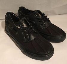 Polo Ralph Lauren Garcons Boys Shoes Kids Leather Canvas Black Size 12.5 NEW