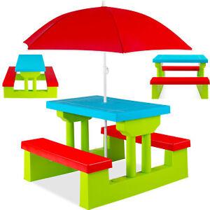 RETOURE Kindersitzgruppe Set Sitzgarnitur Kinder Kindermöbel Garten Tisch Bank