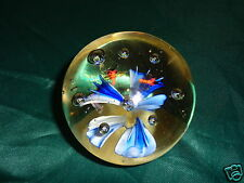 Vintage Blue Flower & Bumble Bee Crystal Art Glass Clear Ball Shaped Paperweight