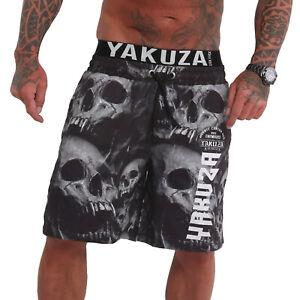 Neue Yakuza Herren Muerte Skull V02 Flex Badeshorts - Schwarz