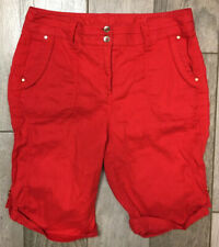 Chico's Bermuda Stretch Shorts Womens Size 0 Red Mid Rise Fast Free Shipping
