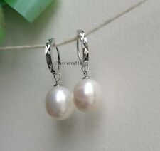Genuine 11-12mm drop freshwater pearls in 925 Sterling Silver dangle earrings WT