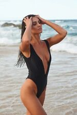 Black One Piece Swimsuit High Cut Zip Front SIZE SMALL