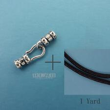 Sterling Silver Cord End Crimp Clasp, 2mm Black Genuine Leather Necklace Diy Kit