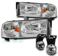 94-01 DODGE RAM PICKUP TRUCK CHROME CRYSTAL HEAD LIGHTS W/BUMPER FOG LAMPS COMBO