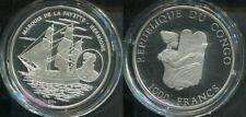 CONGO 2004 - 1000 Francs in Silber, PP - SCHIFFE Marquis de la Fayette Hermione