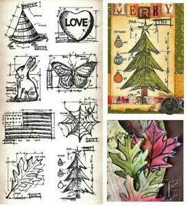 Tim Holtz Blueprint Stamps - Halloween, Christmas, American Flag, Love, Autumn