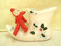 Vintage Pixie Planter Boot Flowers Ceramic