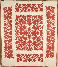 "MUSEUM QUALITY Vintage PA ""Scherenschnitte"" Red & White Applique Antique Quilt!"