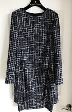 GORGEOUS CHANEL 14P NAVY BLACK WHITE TWEED COAT JACKET & DRESS SET SUIT 46