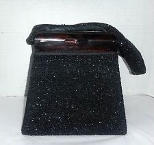 Vintage Art Deco Black Seed Beaded Box Purse -Amber Tiger Eye Top -Purse Handbag