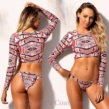 Dusky PINK Surf RASHIE Tankini CROPPED Padded LONG Sleeve 2-pc BRAZILIAN Bikini
