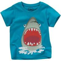 Boys Kids Scary Shark T-Shirt Tops Short Sleeve Cotton 3D Felt Print Blue Summer