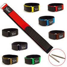 X-treme Rip Sports Hook & Loop Watch Strap Band Men's 20mm, 8 Colours, Free Pins
