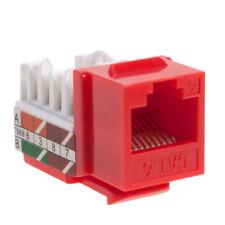 10 lot Keystone Jack Cat6 Red Network Ethernet 110 Punchdown 8P8C RJ45