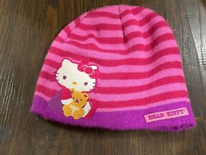 HELLO KITTY SANRIO GIRLS KNIT HOT PINK, LAVENDER STRIPED BEANIE hat winter cap