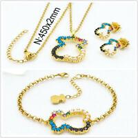 18k Gold Pearl Jewelry Fashion Women Bear Crystal Necklace Bracelet Earrings Set