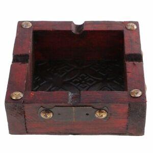 Ashtray Wooden Dolity Vintage Square Shape Handmade Tobacco Case Cigarette Cigar
