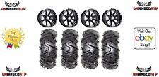 "Bundle /MSA Black Diesel14"" ATV Wheels 28"" EFX MotoMTC Tires 4x137 Bolt Pattern"