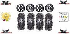 "Bundle /MSA Black Diesel14"" ATV Wheels 28"" EFX MotoMTC Tires 4x137 Bolt Pattern"