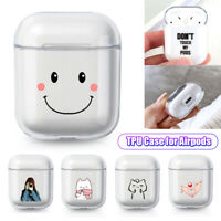Charging Case Cats Flowers for Apple Airpods Transparent Soft TPU Case Cover