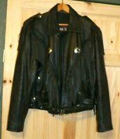 Slightly Used  Black Leather Mark V  Motorcycle Jacket w Fringes Large Size 42