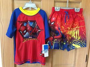New Marvel Boys Spiderman Rash Guard Shirt and Short Set UPF 50+