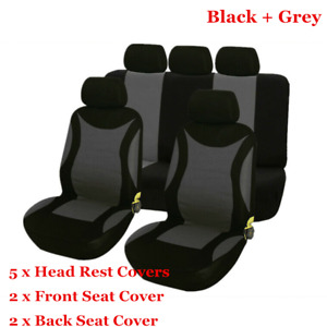 9pcs/set Universal Car Seat Cover Cushion Black + Grey Front Rear Seat Protector