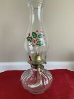 """Vintage Depression Glass Oil Lamp Hand Painted W/ Holly & Berries 13"""""""