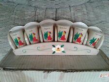 Vintage Wood Spice Set With Holder