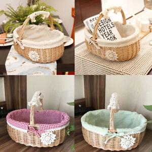Natural Wicker Bread Basket Shopping Egg Fruit Storage Hamper + Fabric Lining