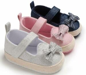 Newborn Baby Girl Crib Shoes Infant Bowknot Princess Shoes Trainers Size 0-18 M