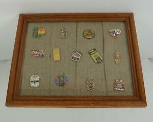 Vintage Olympic Pin Set Framed Collection 13 Pins Size 8 x 10