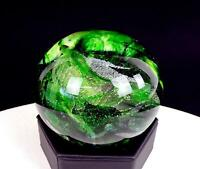 "MURANO ITALY ART GLASS GREEN & WHITE SWIRL CONTROLLED BUBBLE 2 3/4"" PAPERWEIGHT"