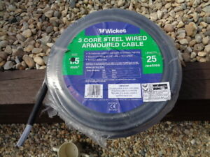 25m SWA Armoured Cable 1.5mm 3 core 240 volts 16.5 amps ideal for outside lights