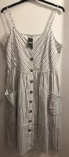 BNWT George Ladies White & Navy Striped Sleeveless Lined Dress. Size 16