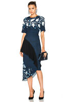 NEW PETER PILOTTO Printed Cady Pencil Midi Dress in Navy Leaf UK 8 RRP £1442