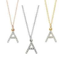 Diamond Initial Necklace 14K Real gold A diamond initial pendant charm 0.08 ct