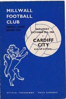 MILLWALL V CARDIFF CITY DIVISION TWO 29/10/66