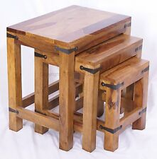 JALI NEST OF 3 TABLES/ HANDMADE FROM REAL SOLID INDIAN SHEESHAM ROSEWOOD
