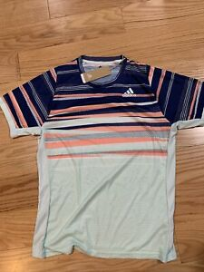 Adidas Tennis FREELIFT HEAT.RDY TEE Dash Green / Tech Indigo Sz L BNwT