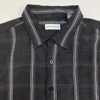 Michael Brandon Button Up Shirt Mens XXL Black White Check Short Sleeve Casual