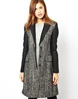 New KAREN MILLEN BNWT £275 Tweed Wool Day Casual Winter Jacket Coat UK 12 14