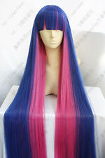 120CM Women Long Blue Pink Neat Bangs Straight Cosplay Diao Daiwa Angel Full Wig