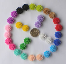100 Cabochon Resin Flowers Mixed Colour Dahlias in PAIRS Flatbacks 15mm