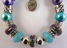 Bracelet Cordon Simili Cuir Noir Perles Compatibles / 2012049 C